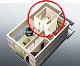 イラスト:建物内にシェルターを設置した様子